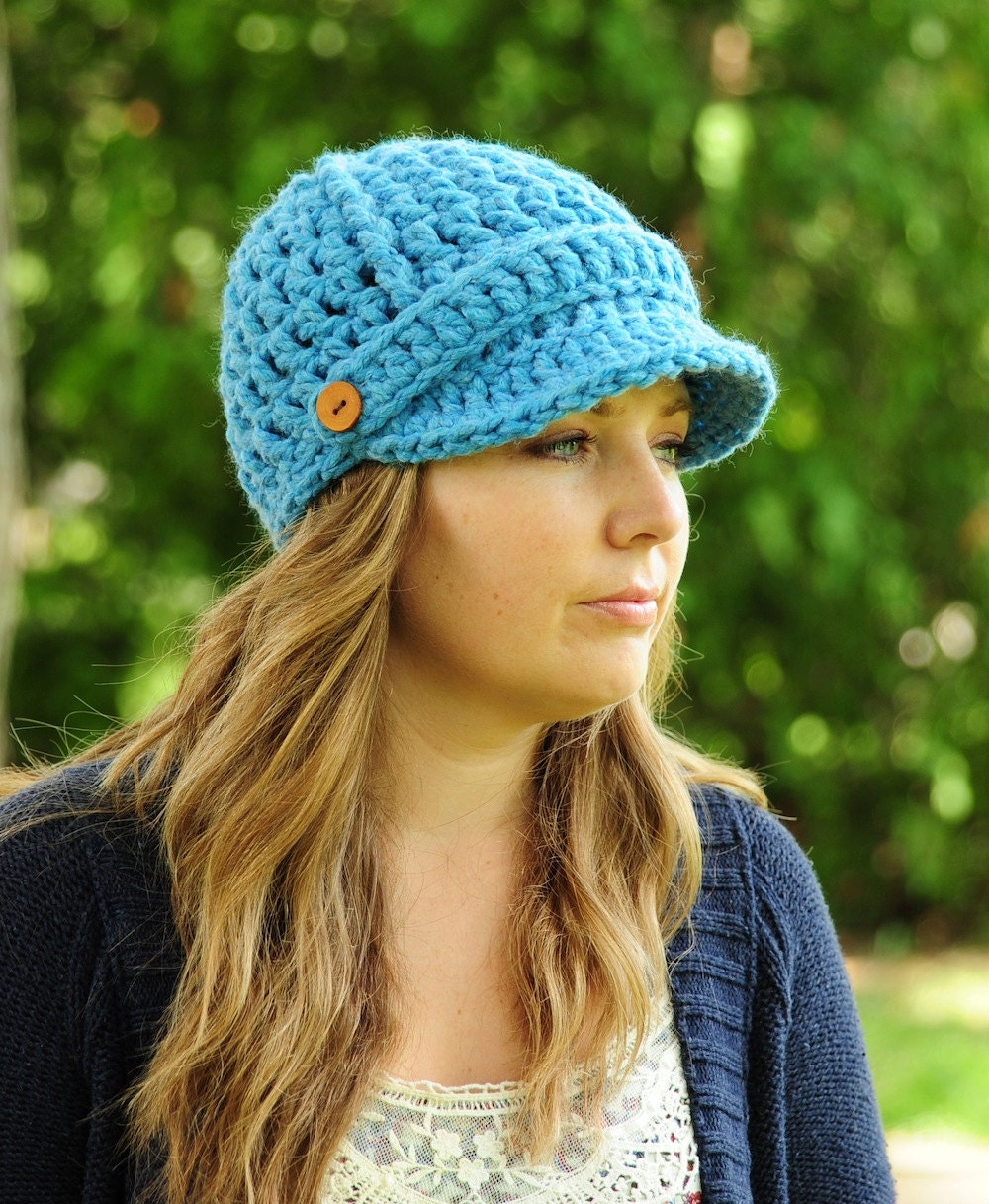 Womens Newsboy Hat Womens Crochet Hat Brimmed by ...