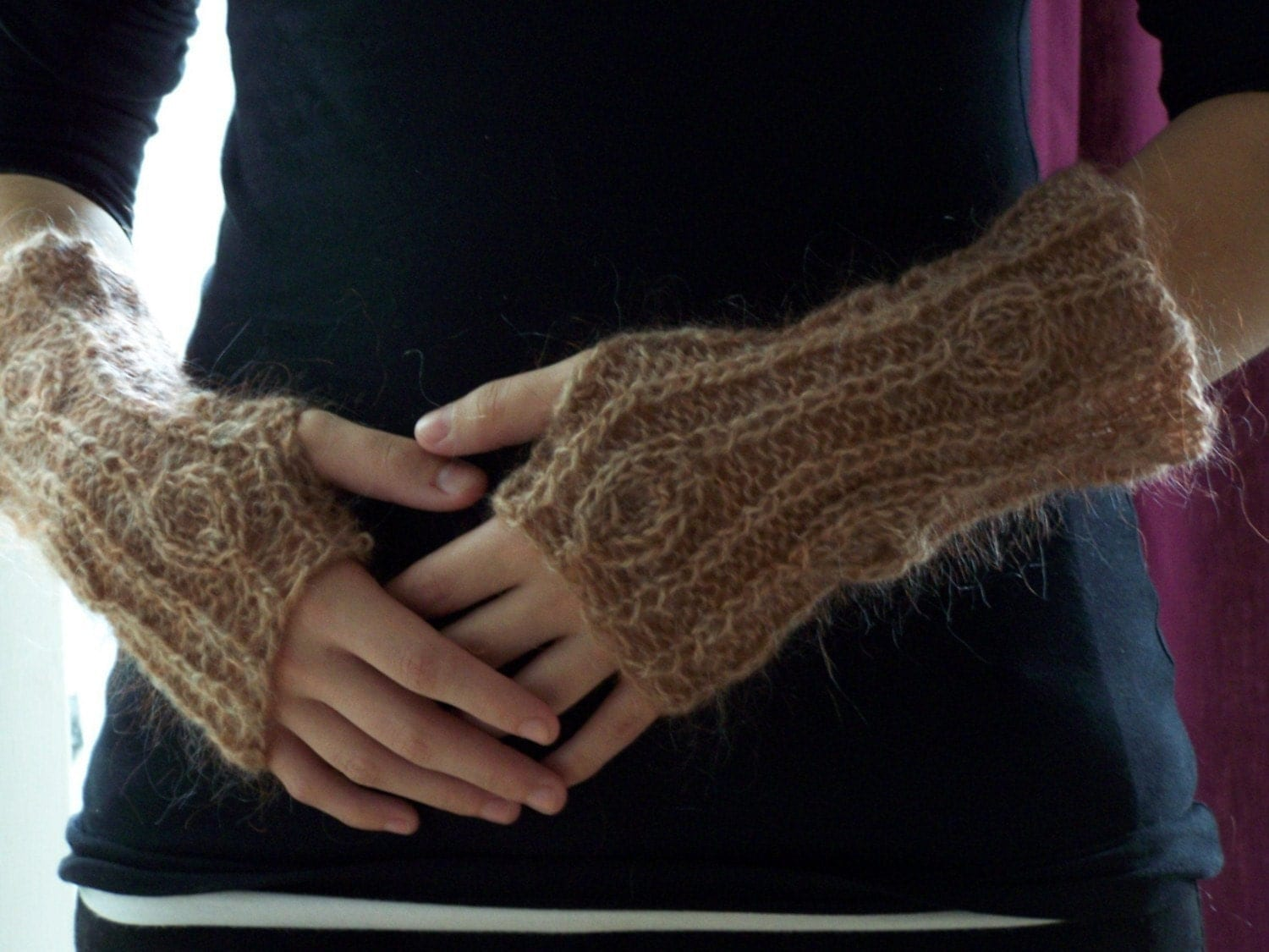 Knit Fingerless Gloves Pattern Straight Needles : Beaute PDF Knitting Pattern Fingerless Gloves by KnitChicGrace