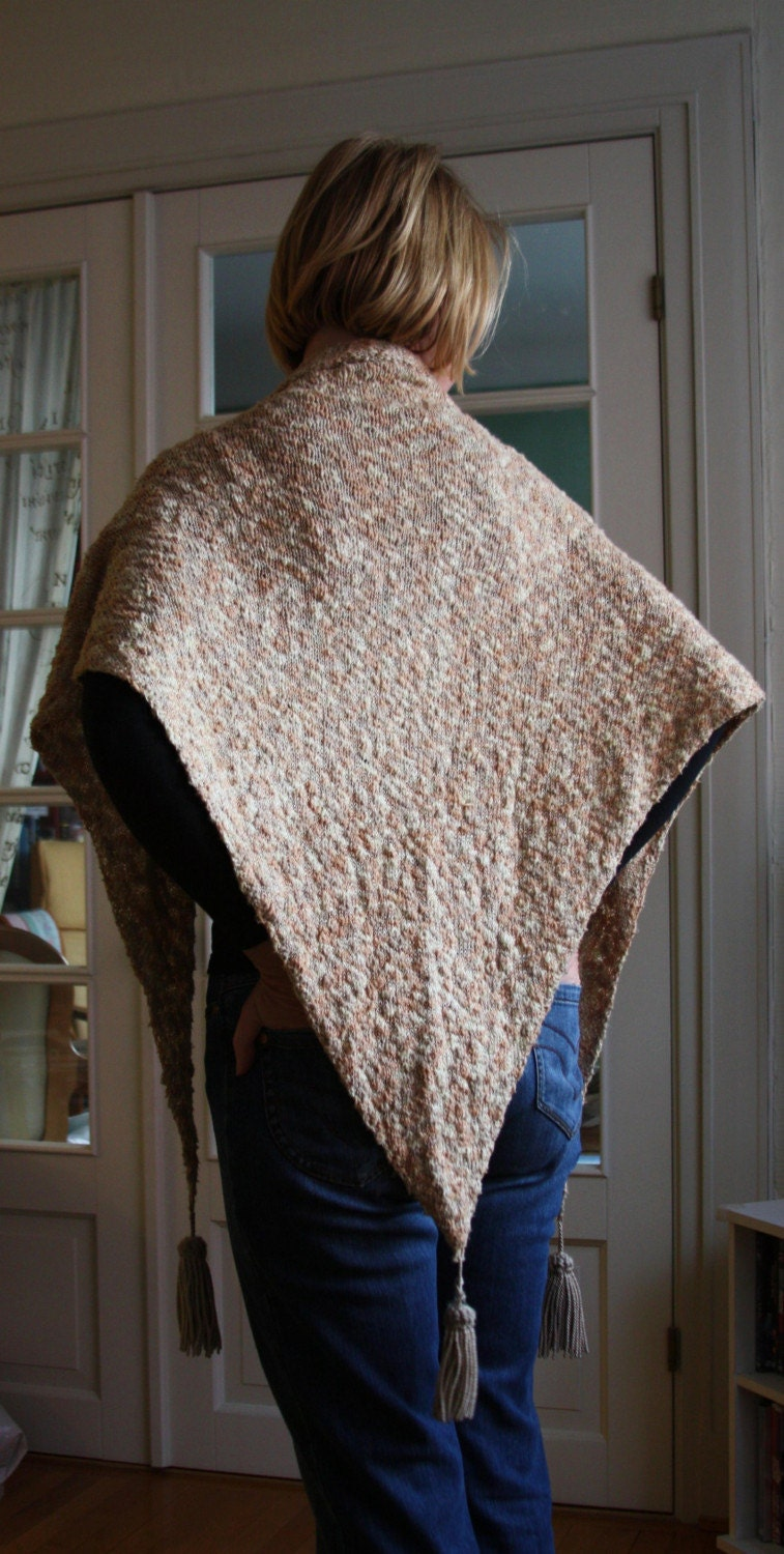 SALE Safari Inspired Hand Knitted Tassled  Cotton Shawl - Sand Color - byEline