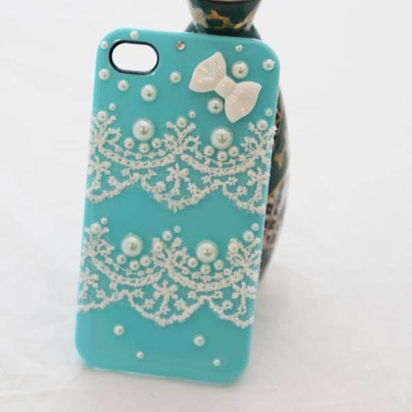 Durable iphone case phone case iphone 4 case iphone 4s case pearl lace decorated iphone  case  -hard phone case