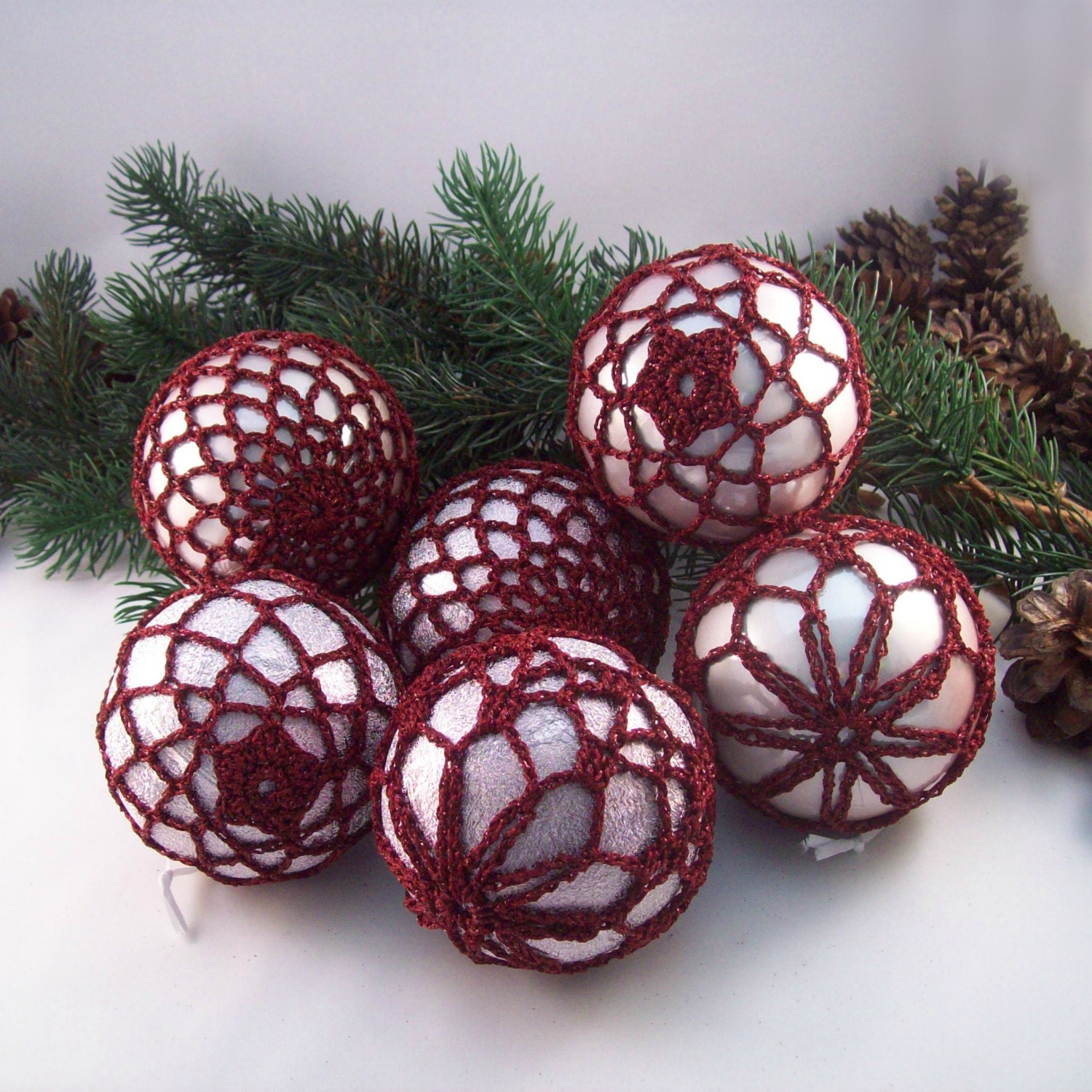 Dark Red  Blush Baubles Christmas baubles Tree decorations Wedding decorations Crochet baubles Christmas ornaments Holiday baubles