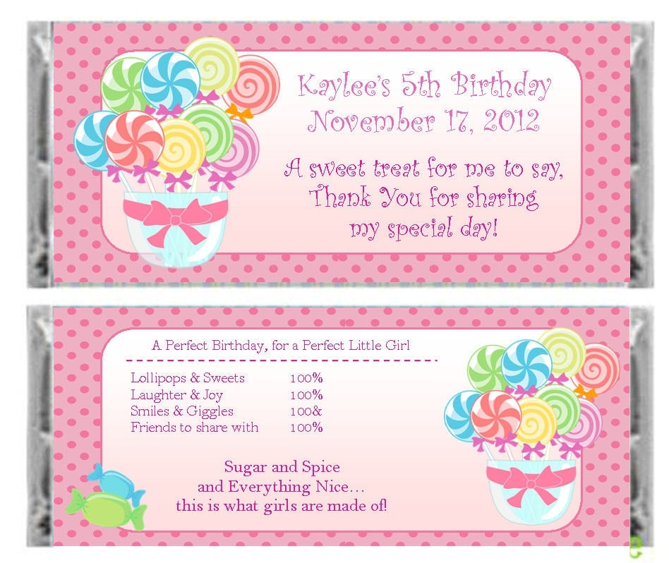 Personalized candy land candy bar wrapper by lovelypapercreations
