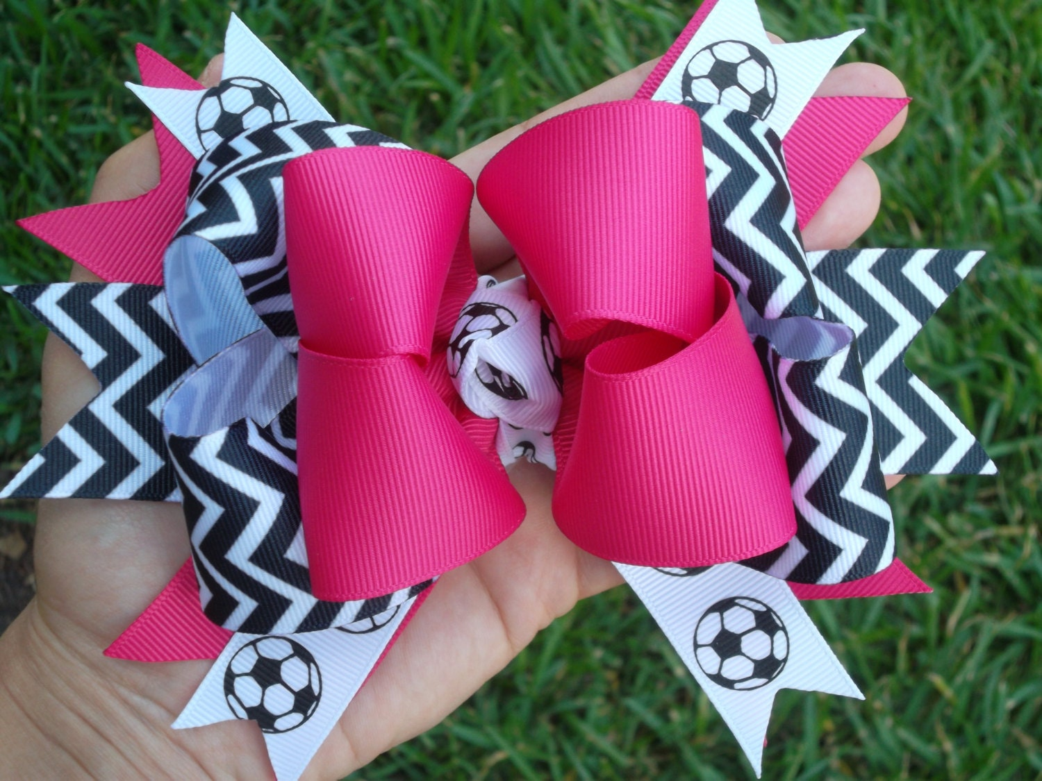 Fuchsia Soccer Hair Bow Chevron Soccer Bow Stacked Pink Soccer Boutique Bow - ransomletterhandmade