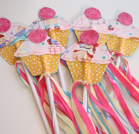 Set of 6 Whimsy Wendy Sewn BIRTHDAY Cupcake Wands with Trailing Ribbons - whimsywendy