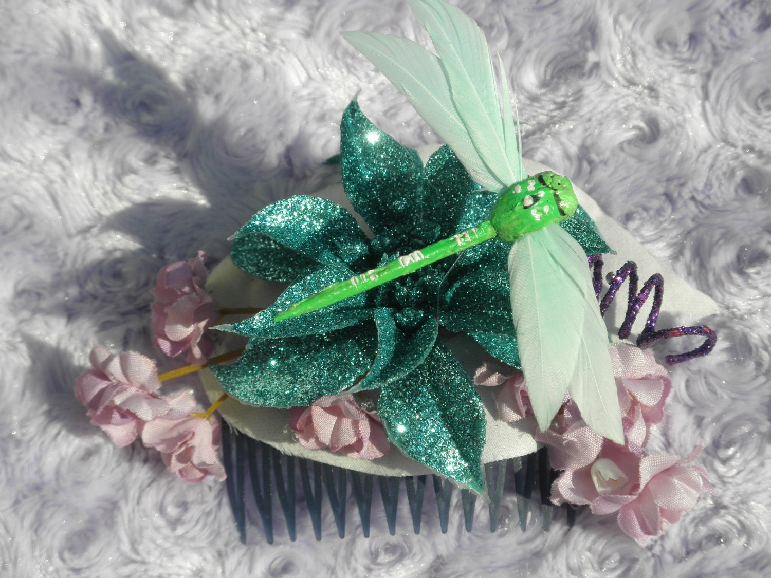 Purple, Blue, and Green Feather Dragonfly Glitter Flower Hair Clip - ButterflyHollowTree