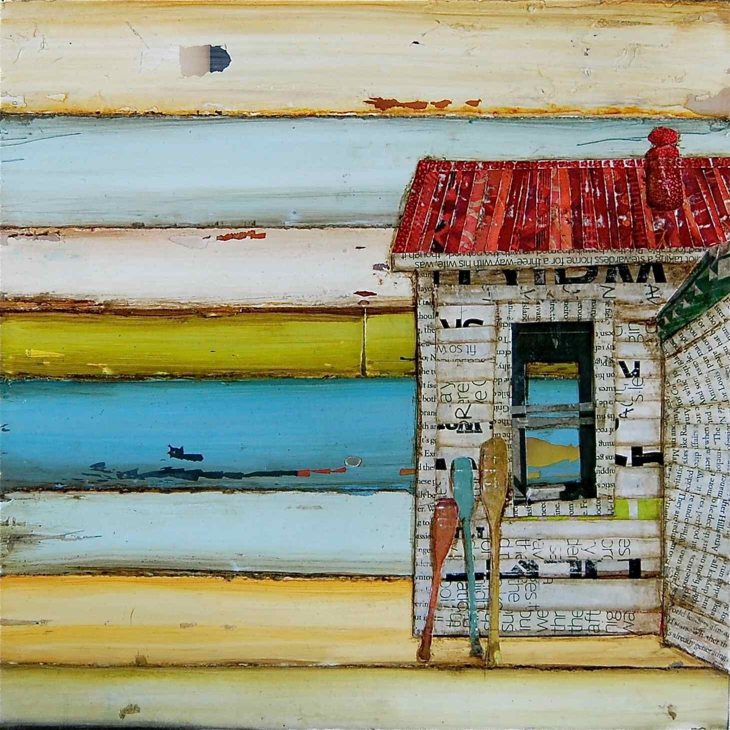 "Beach Shack and Oars - ""Southern Maine Beach Shack"" - Fine Art Print 11x14"