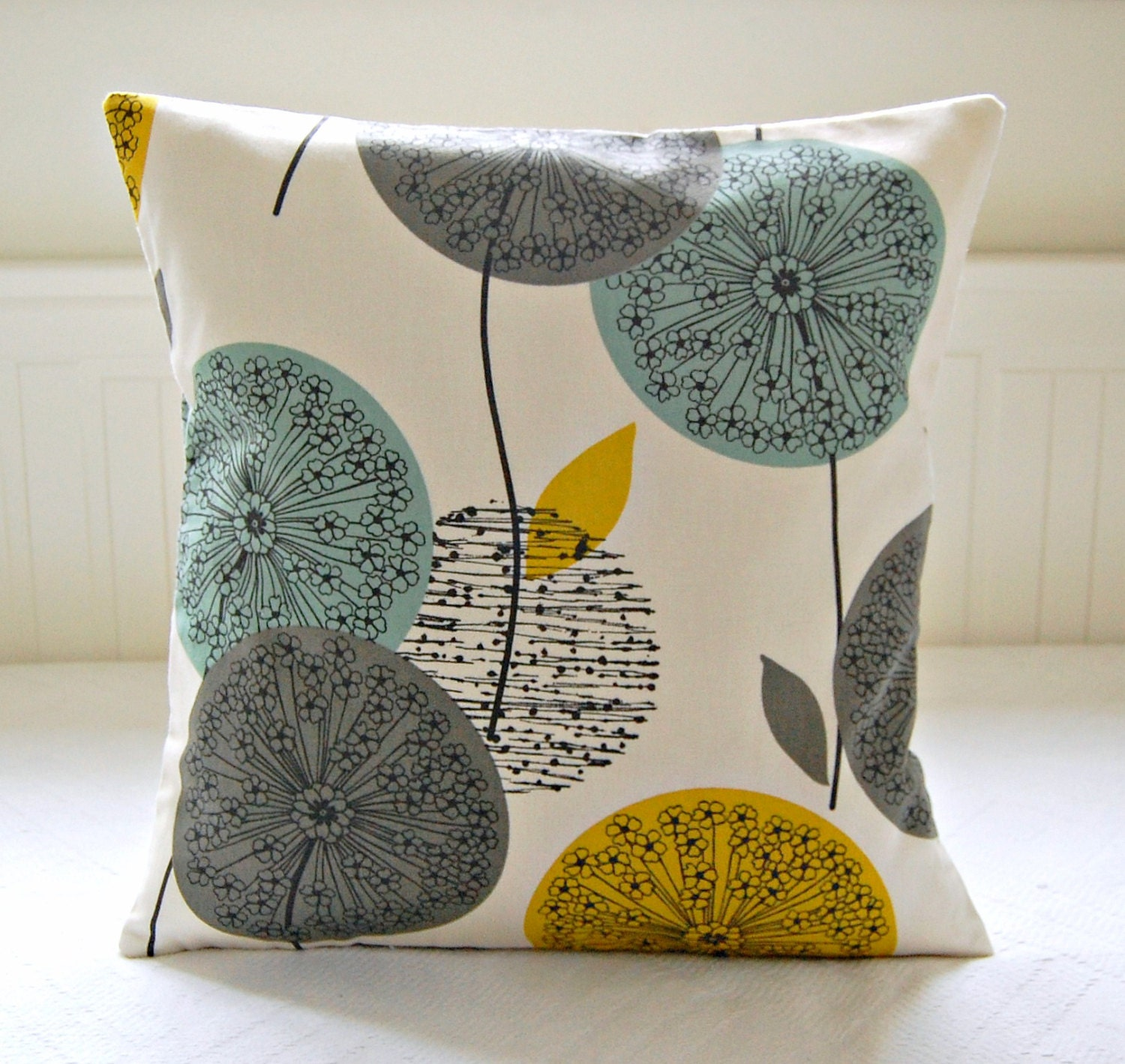 mustard teal grey pillow cover, dandelion flower cushion cover 18 inch - LittleJoobieBoo