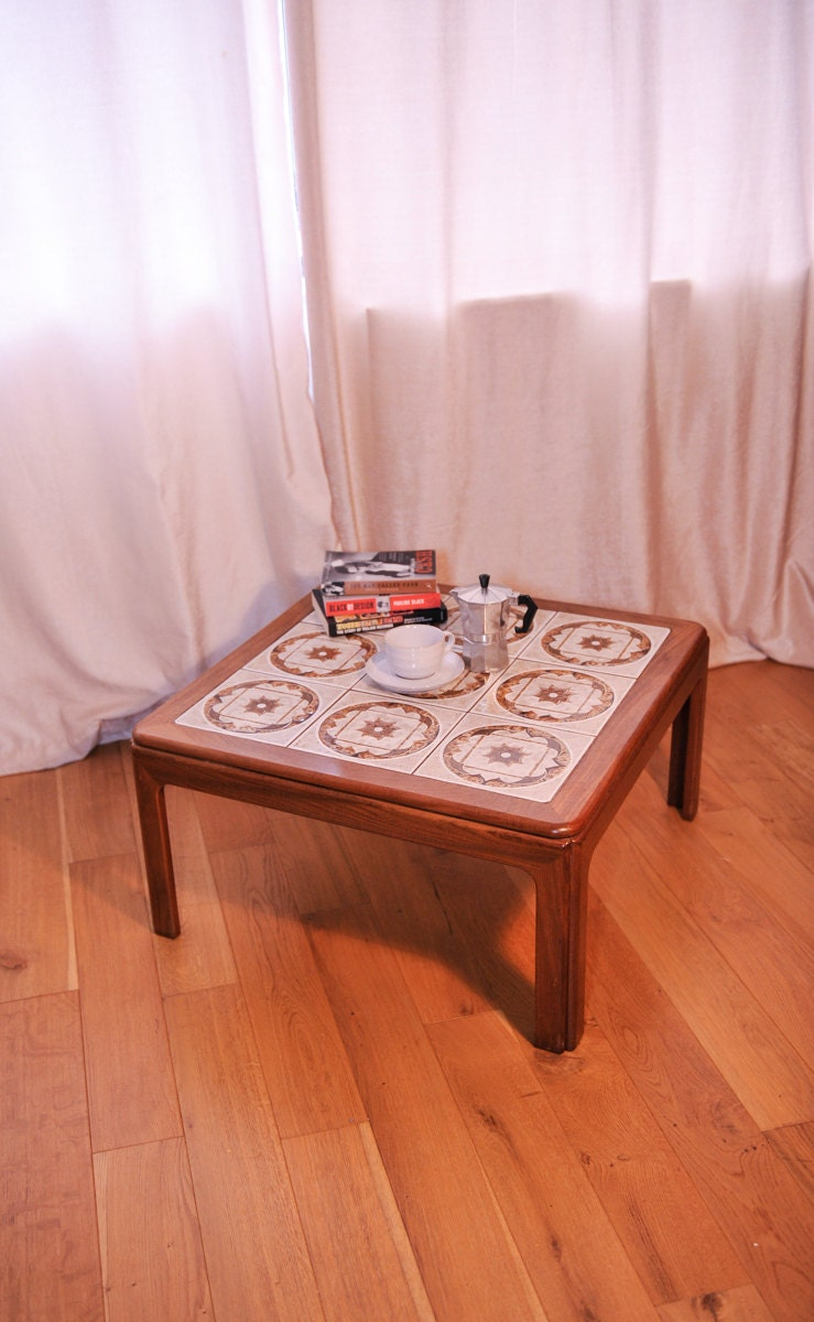 G Plan Teak Tiled Fat Lava Mid Century Square Coffee Table  1970s MayETSYSale1 (shipping not included)