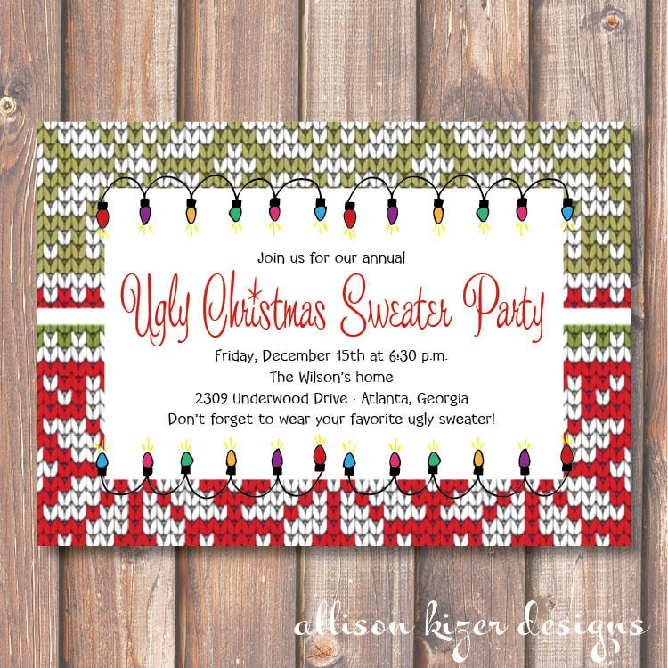 Ugly Sweater Christmas Party Invitations for perfect invitation template