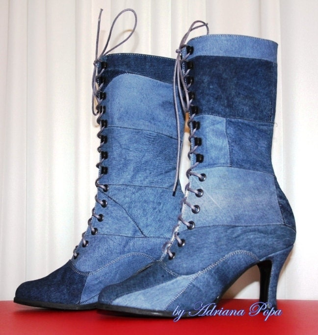 SALE 30% Discount Sale Victorian Edwardian Boots in Leather as jeans fabric Ankle boots  Order your customized  size - VictorianBoots
