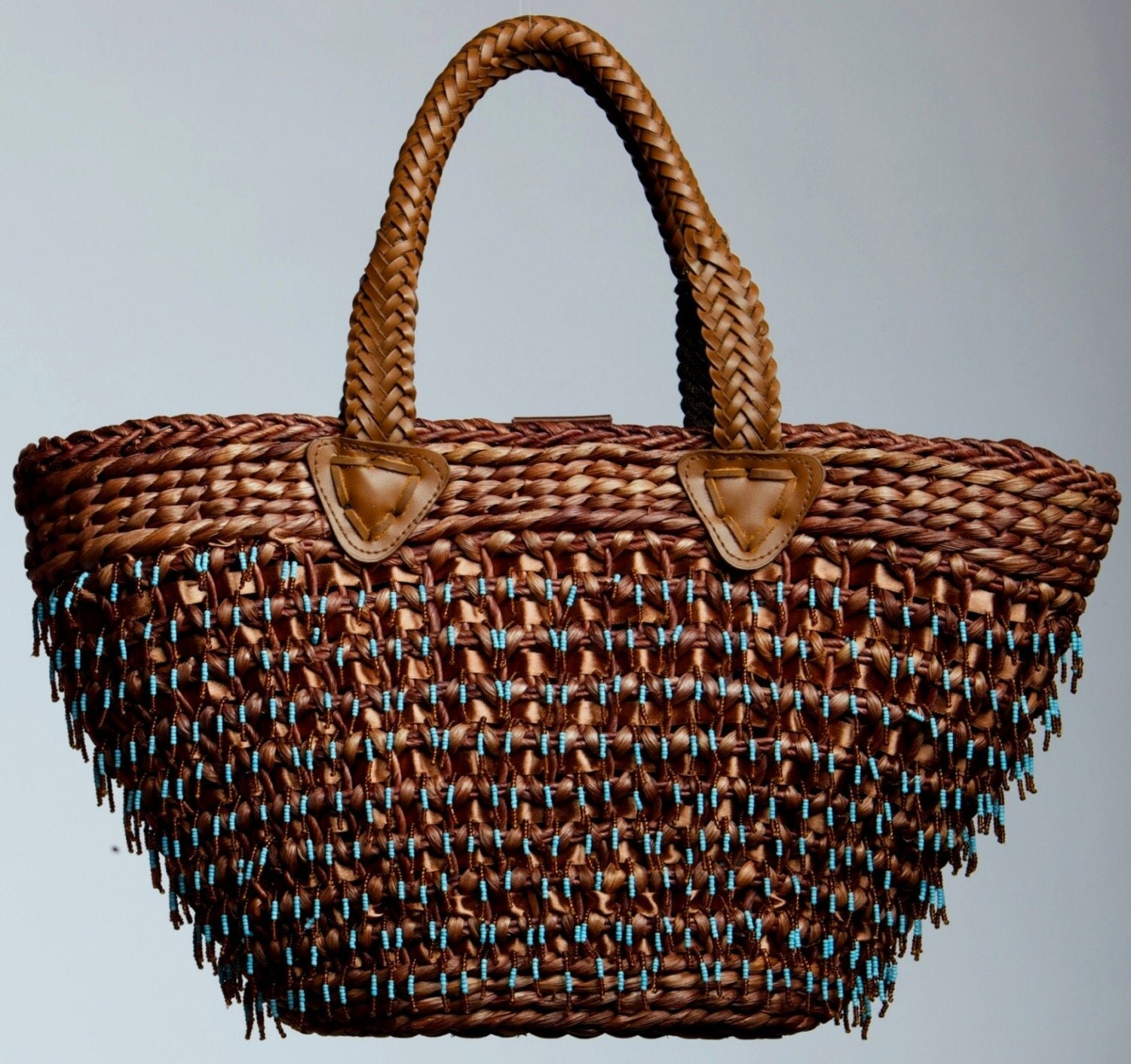 brown Straw Bag turquoise beads for market and pool