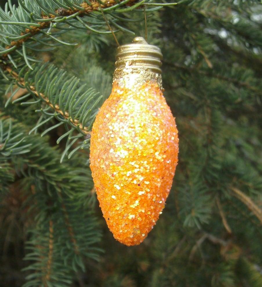 Light Bulb Ornament Orange Sugar Plum Glitter by CarriesCraftStore