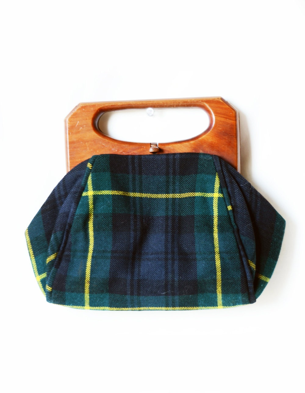 Vintage Tartan Plaid and Wood Purse