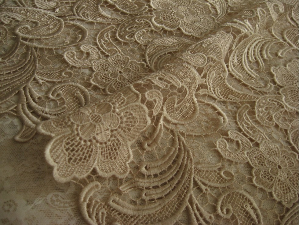 Chic champagne lace fabric crocheted lace fabric bridal by for Bridal fabric
