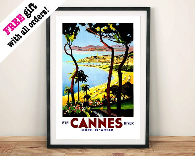 CANNES TRAVEL POSTER Vintage Riviera Advert Art Print Wall Hanging