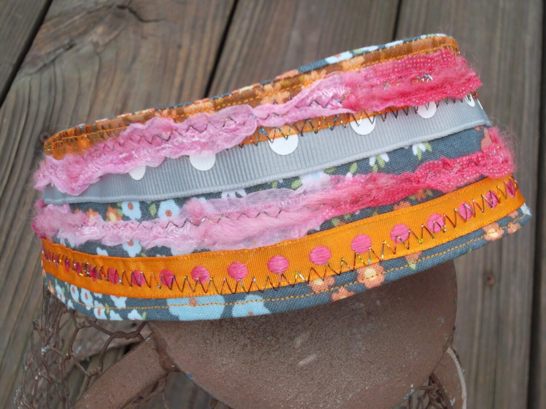 Hippie Reversable Headband - Slip On Elastic  - PInk Orange and Gray Floral - ransomletterhandmade