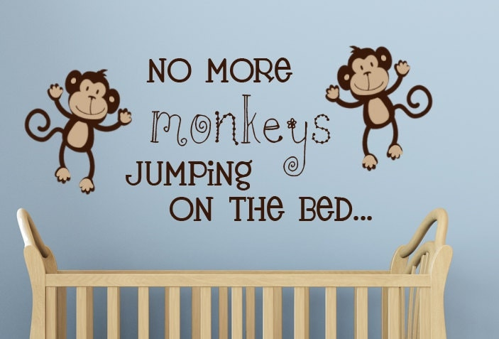 no more monkeys jumping on the bed wall decal vinyl art. Black Bedroom Furniture Sets. Home Design Ideas
