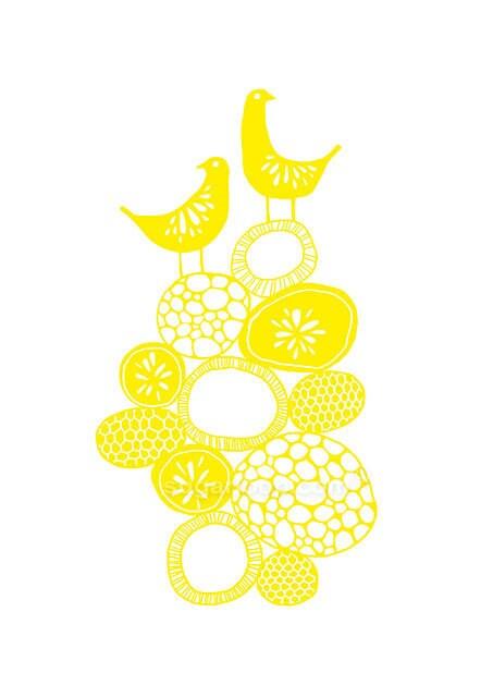 "Lemon Yellow Citrus Birds - Signed Giclée Art Print Children Bedroom Decor Nature  8 x 11.5"" (A4 paper size) - sugarloop"