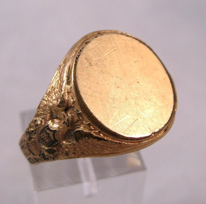 Antique 14k Gold Shell Signet American By Brighteyestreasures