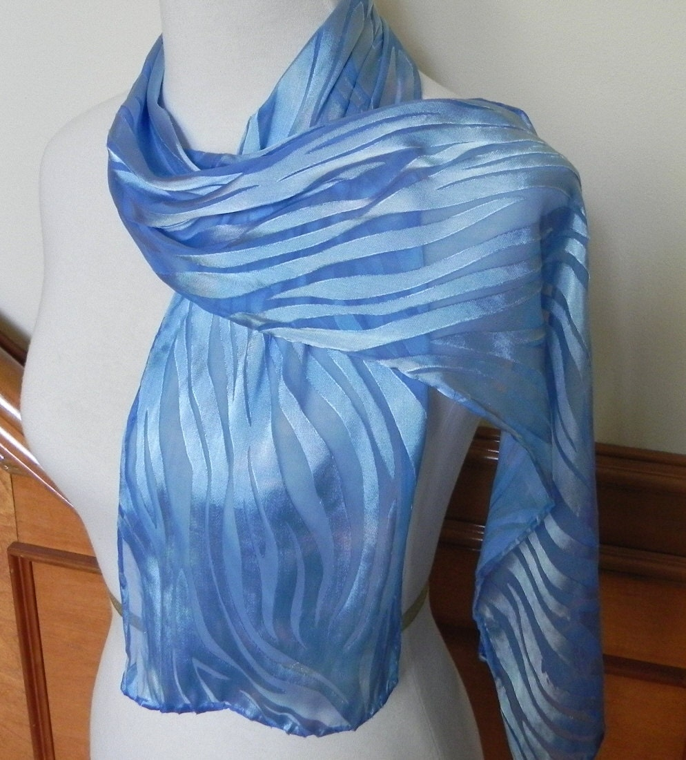 Sky Blue Devore Satin Scarf Hand Dyed, Long Silk Scarf, Ready to Ship - RosyDaysScarves