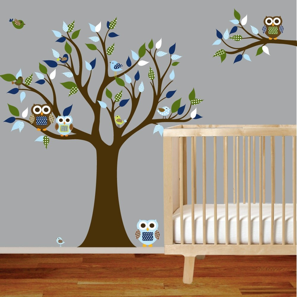 items similar to vinyl wall decal stickers owl tree set with custom