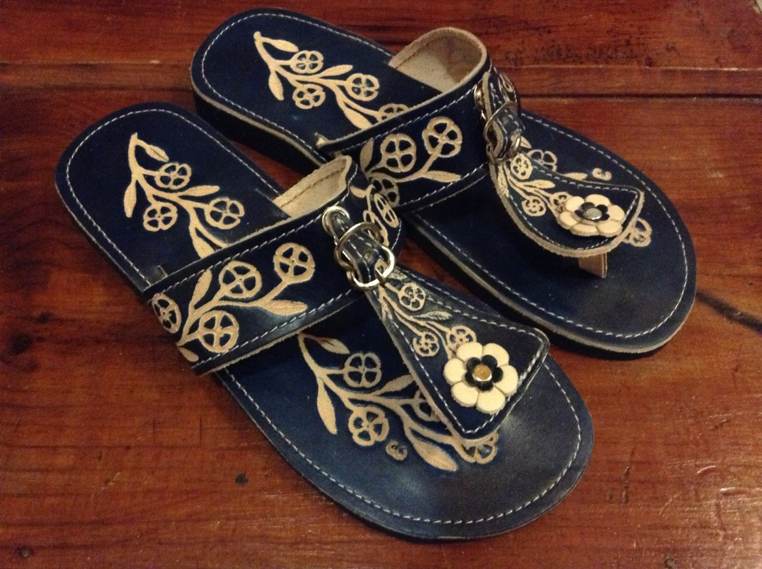Leather Mexican Shoes- Flip Flops-S andals-Hippie-BOHO- Blue- Handmade
