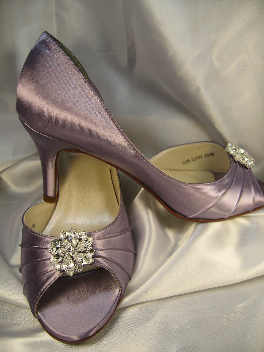 Wedding Shoes Bridal Satin Pale Purple Shoes Over 100 Colors To Pick From Wedding Shoes with Rhinestone Crystal Flower - ABiddaBling