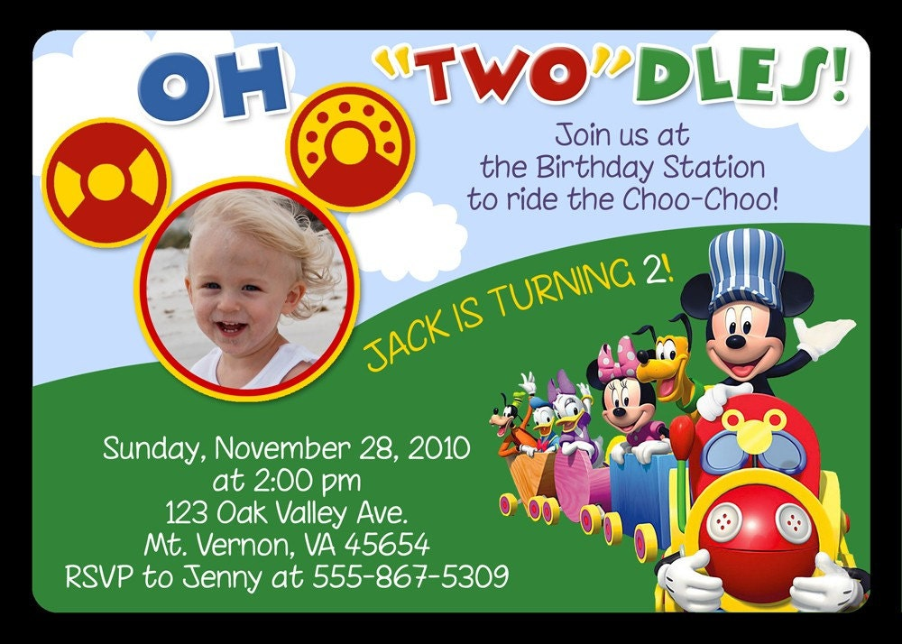 Mickey Mouse Clubhouse Invites with adorable invitation template