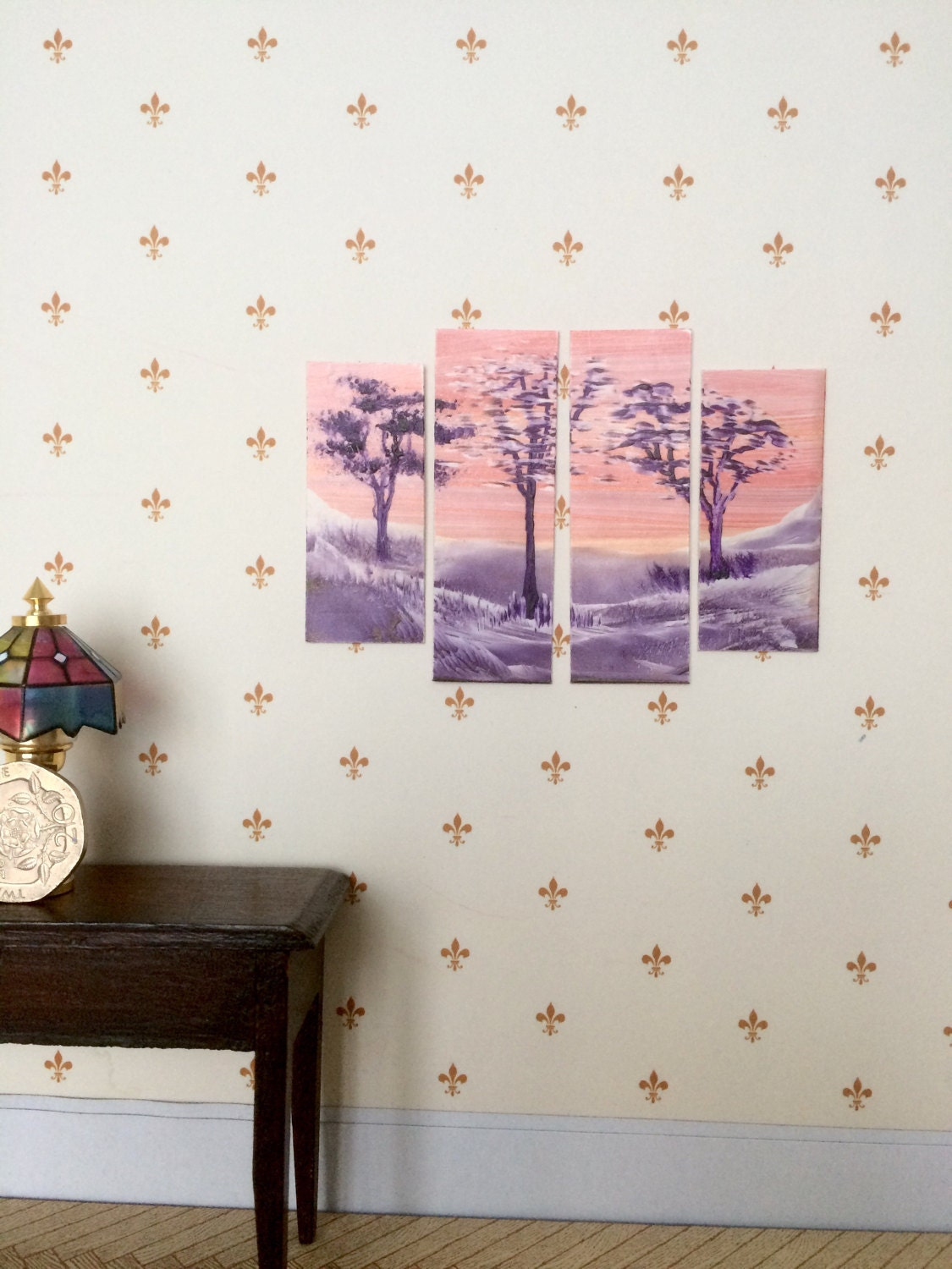 dollhouse Triptych sunset landscape Miniature Dolls House painting Triptych Style Original Modern Dollhouse Art
