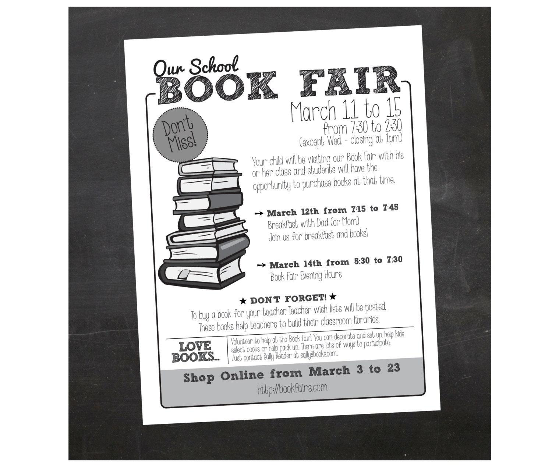 Custom Printable Book Fair School Flyer By Inspiration