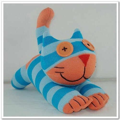 Handmade Sock Cheshire Cat Kitty Stuffed Animal Baby Toy