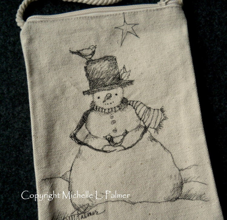 Snowman Winter Christmas Star Sparrows Bird Original Art Illustration on Natural Canvas Bag Tote Purse