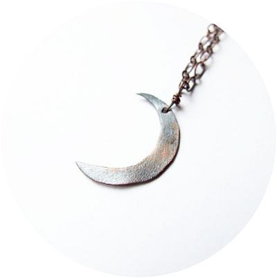 crescent moon necklace - rustic, pagan, retro, vintage inspired copper moon necklace - KicaBijoux