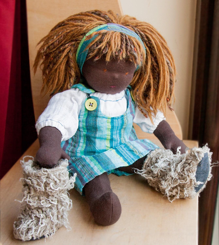AUTUMN 17   Waldorf doll  chestnut hair and eyes  cloth doll  Steiner  role play  ethnic  black  dark African