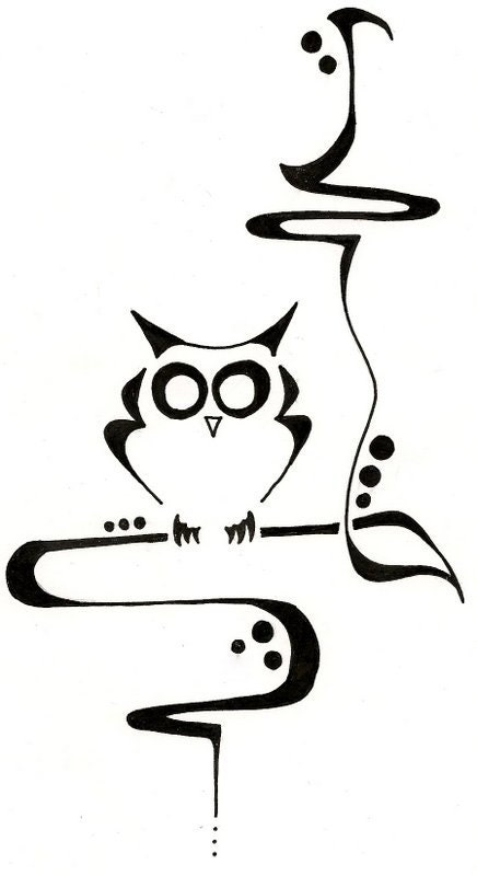 Little owl outline tattoo - photo#20