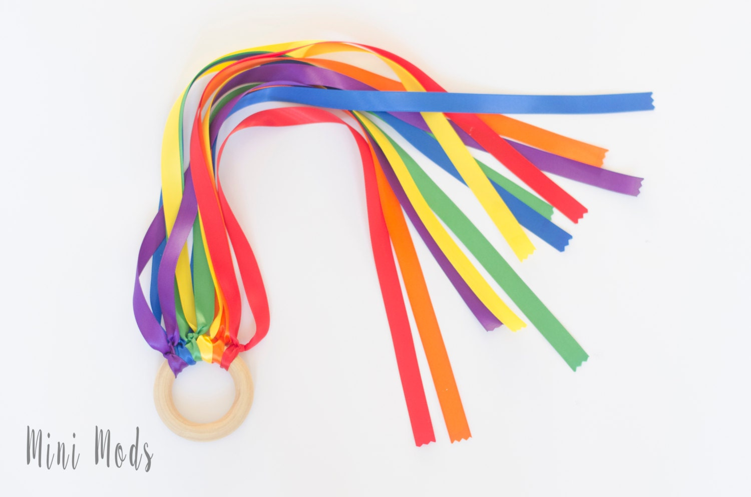 Rainbow Hand Kite and Organic Wooden Ring  Toddler Toy  Sensory Toy  Baby Easter Basket Gift  Valentines gift toy  UK Seller