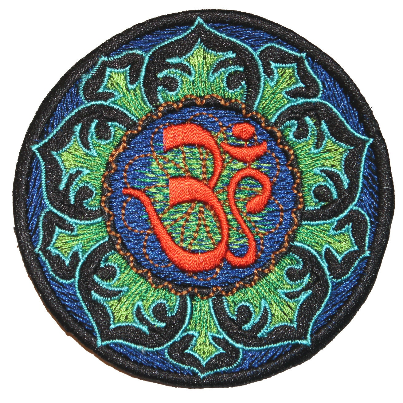 Blue and Orange Lotus Flower Om Iron On Patch Embroidery Sewing DIY Customise Denim Cotton Hippy Hipster Retro Vintage Spiritual 60s