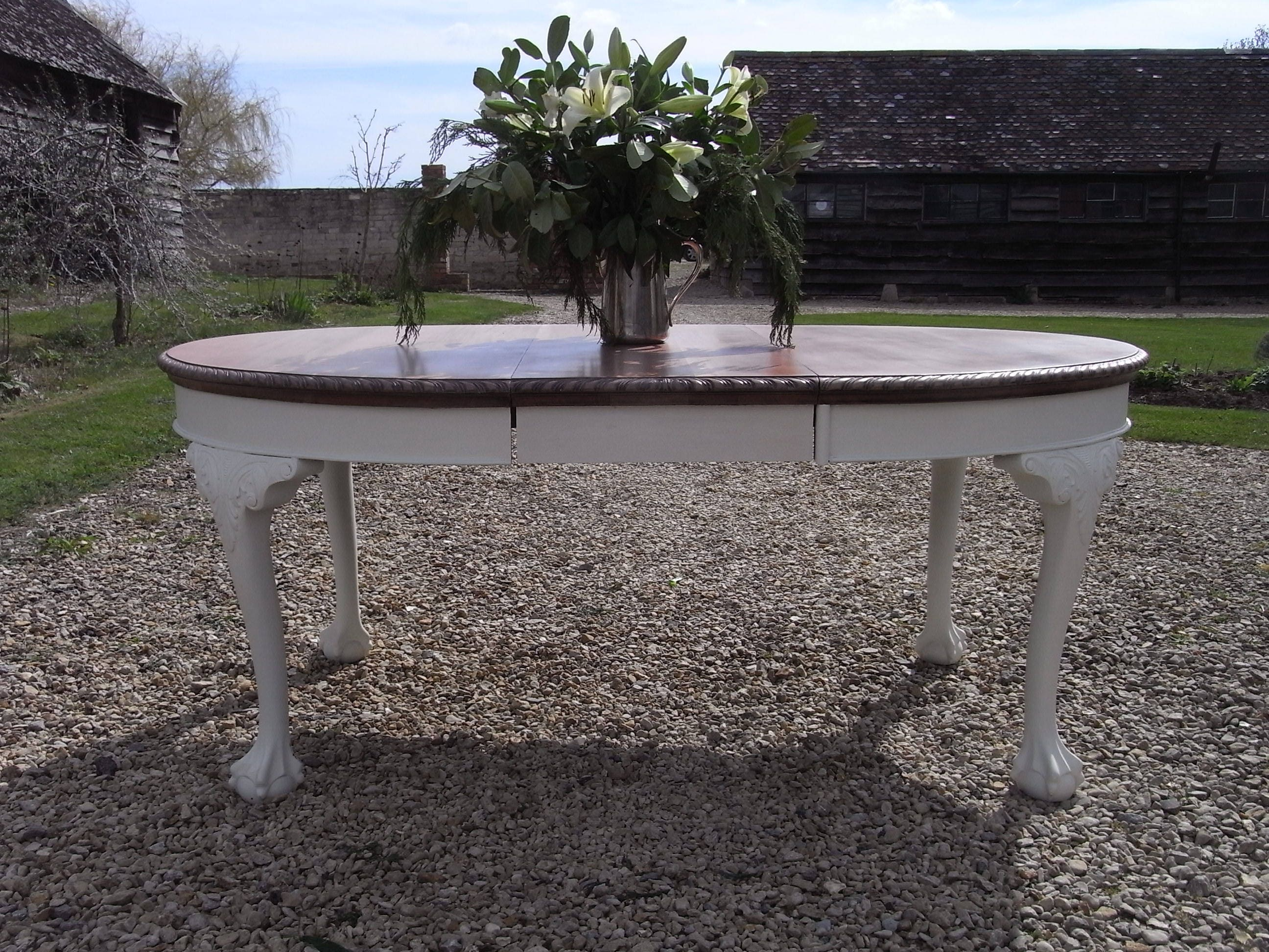 Chippendale Style Extending  Victorian Antique Dining Table  Painted Hand made  Solid Mahogany   198 x 107