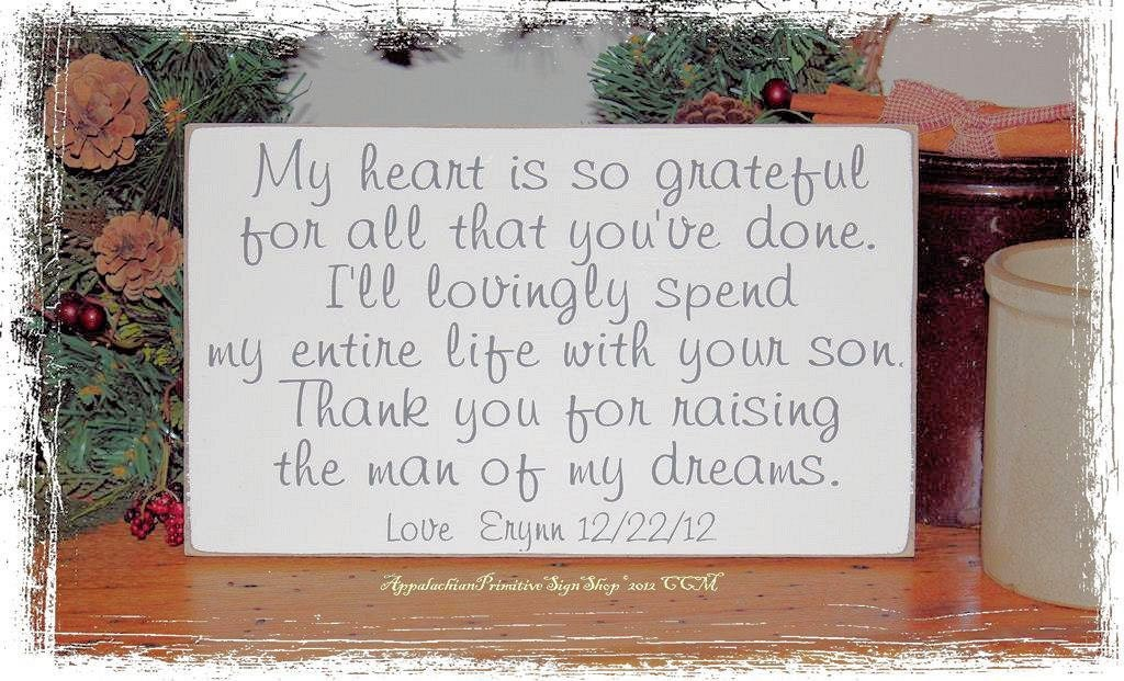 Wedding Shower Gift For My Daughter : Personalized Thank You for Raising the Man by AppalachianPrimitive