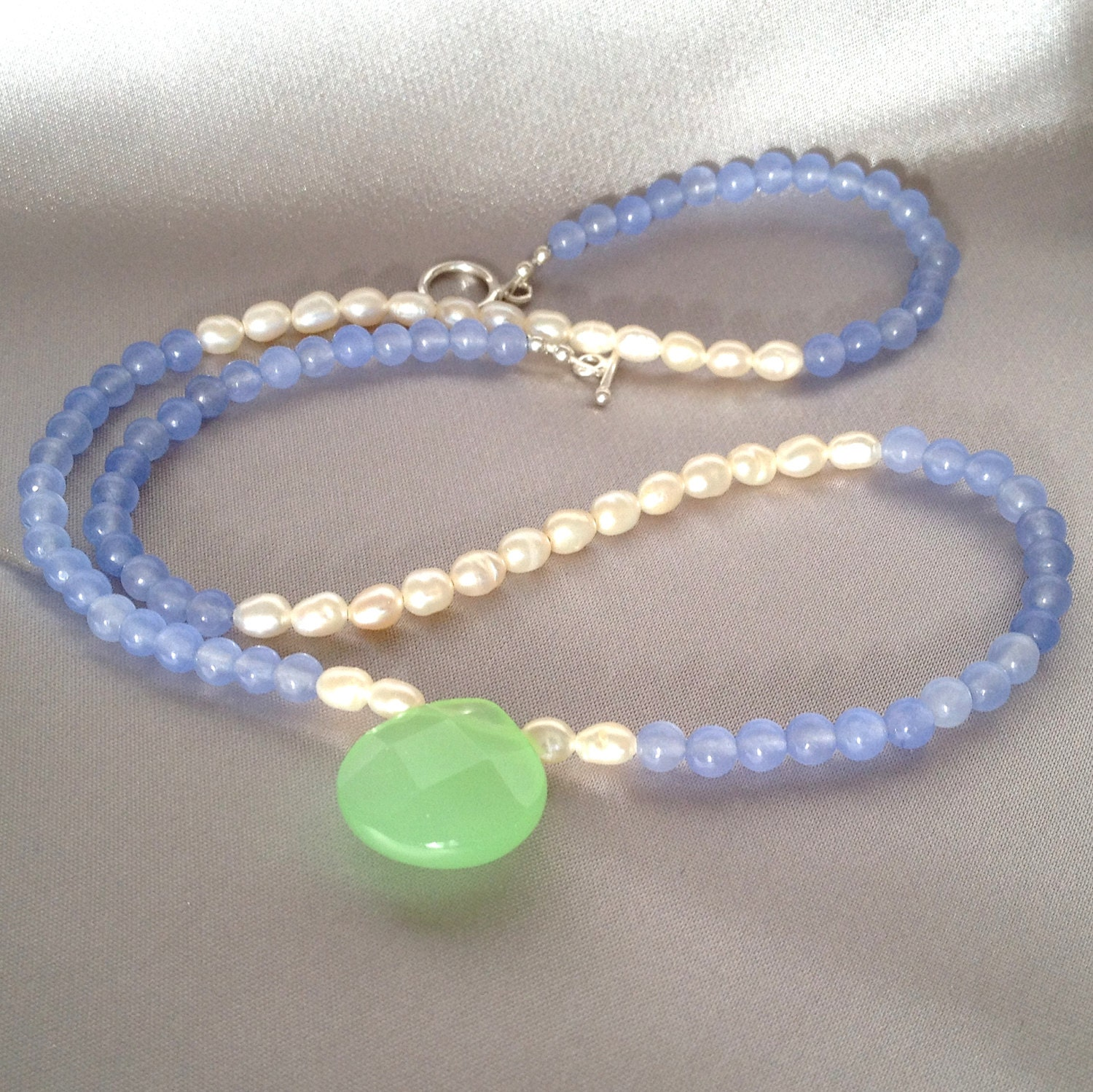 Multigemstone necklace lavender jade beaded necklace with freshwater pearls and apple green chalcedony pendant