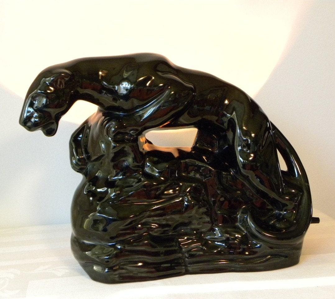 Vintage 1950s Ceramic Retro Black Panther By Redrubyretro