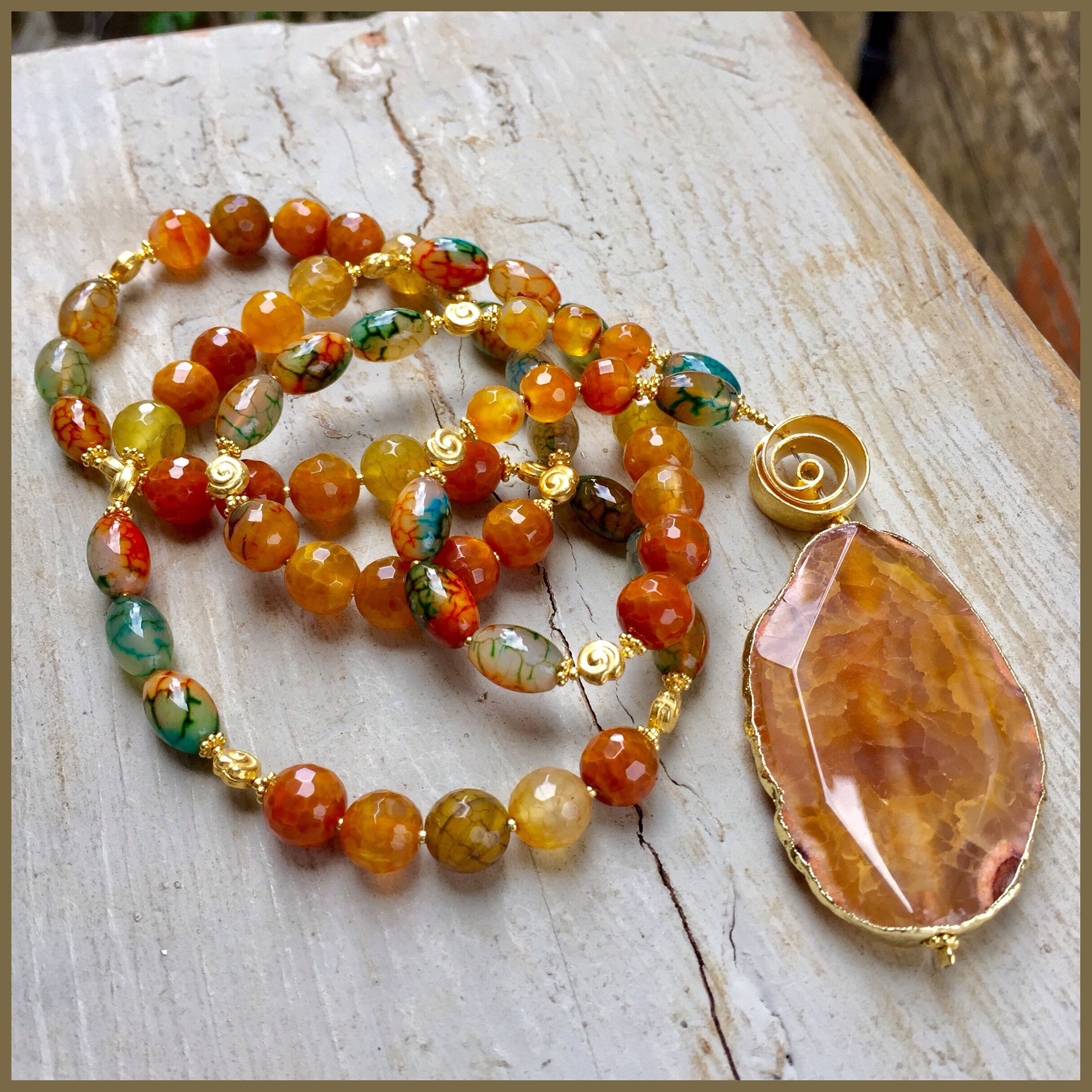 Yellow Agate And Vermeil Gold Necklace
