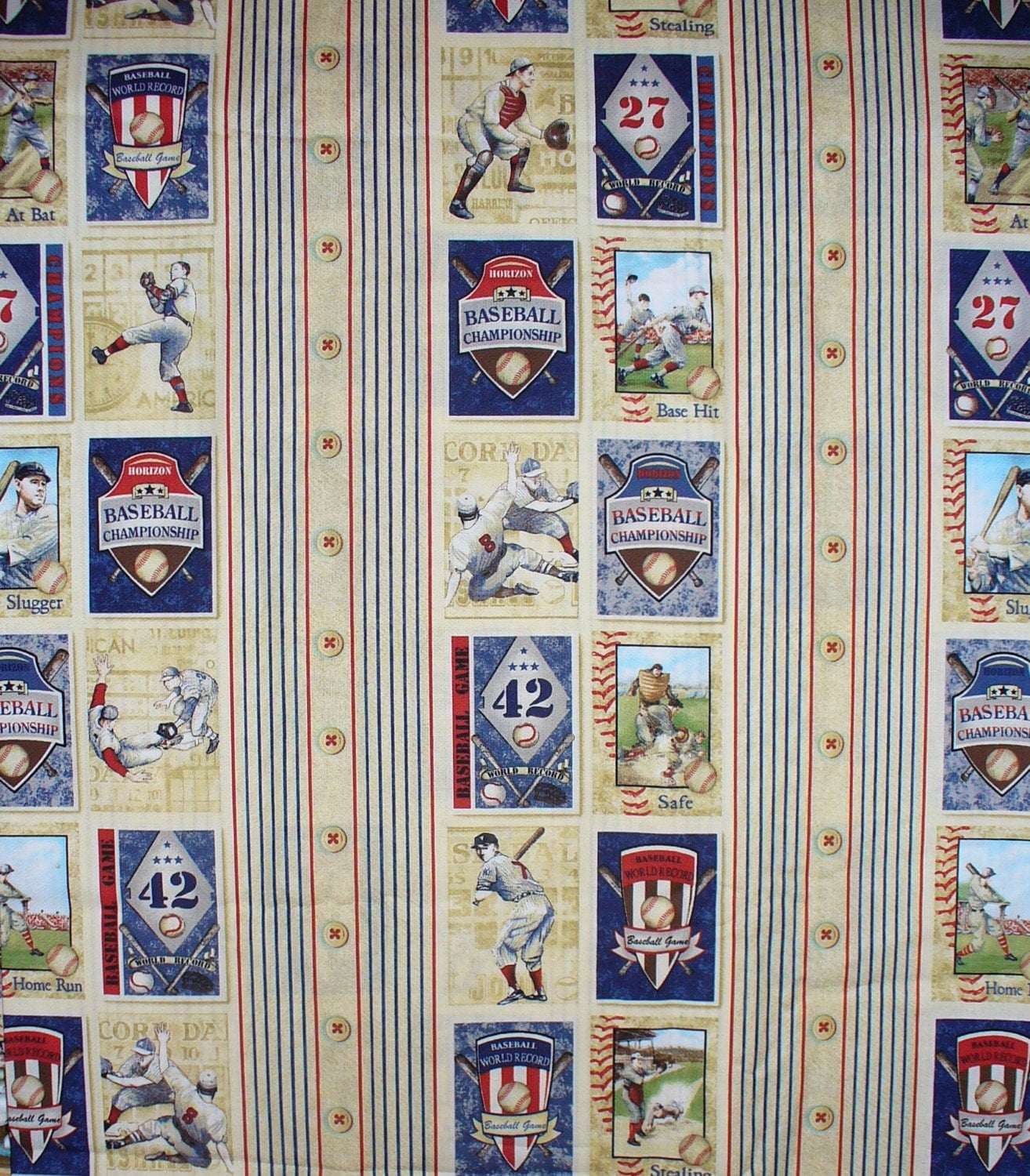 Baseball Fabric Stripes Vintage Style By