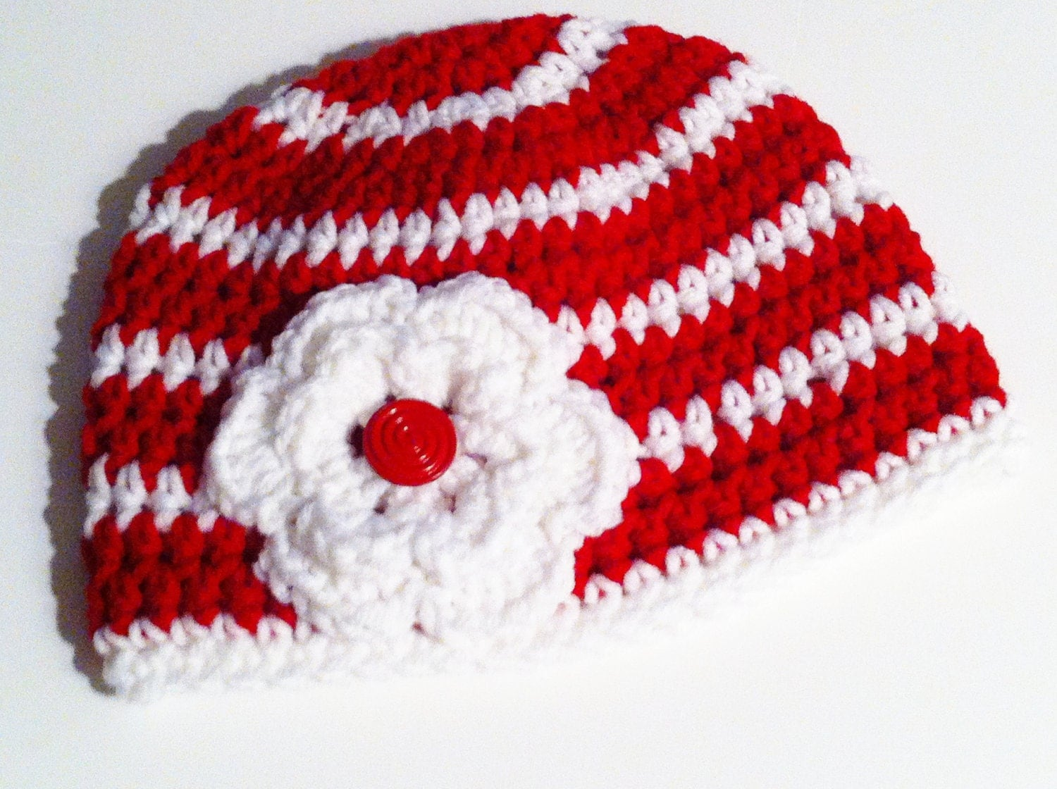 Christmas Crochet Hat - Baby Beanie - Red & White Striped Hat with Crochet Flower - Children