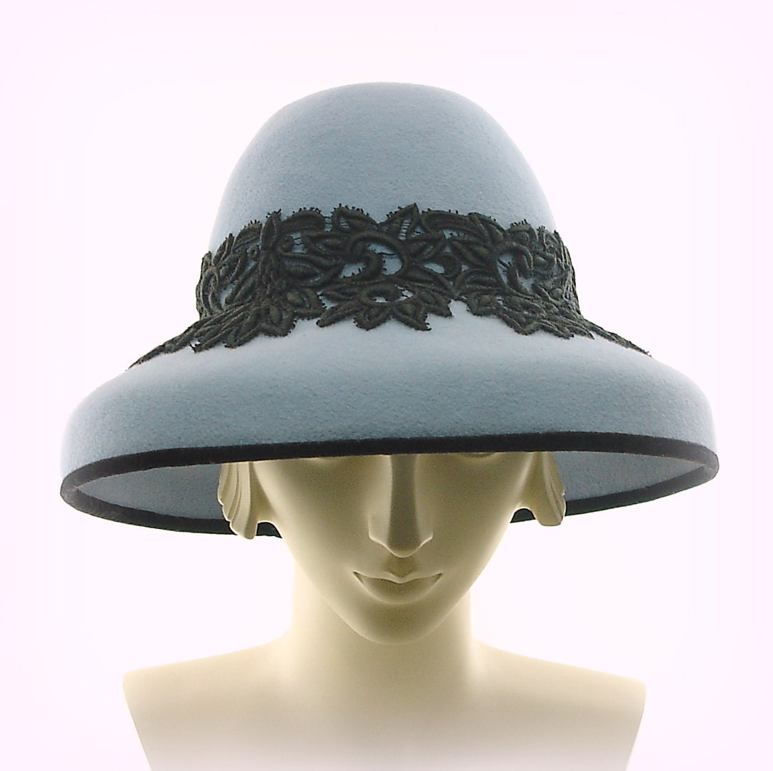 Wide Brim Hat for Women Downton Abbey 1920's Fashion Hat Light Blue Fur Felt w Black Lace - TheMillineryShop
