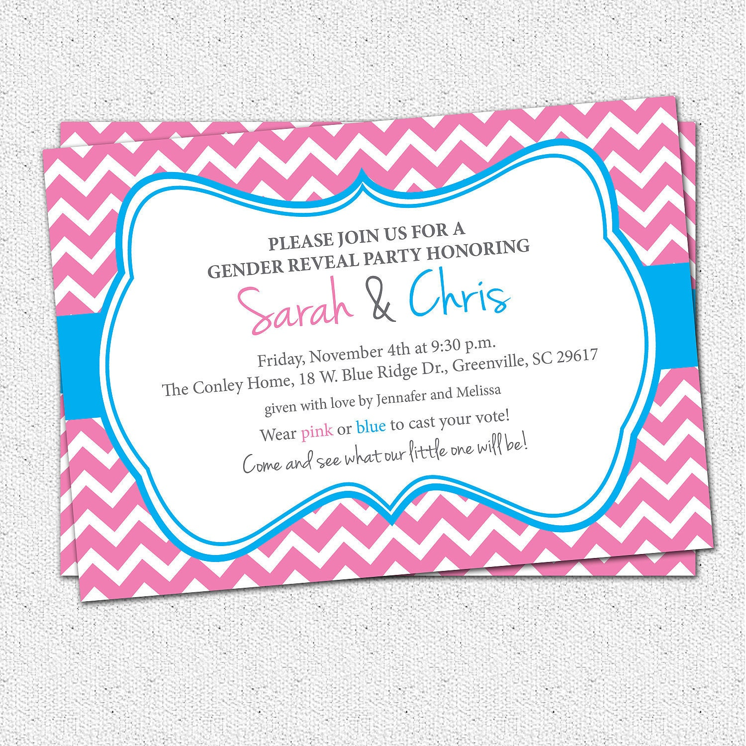baby shower invitation printable gender reveal or neutral chevron