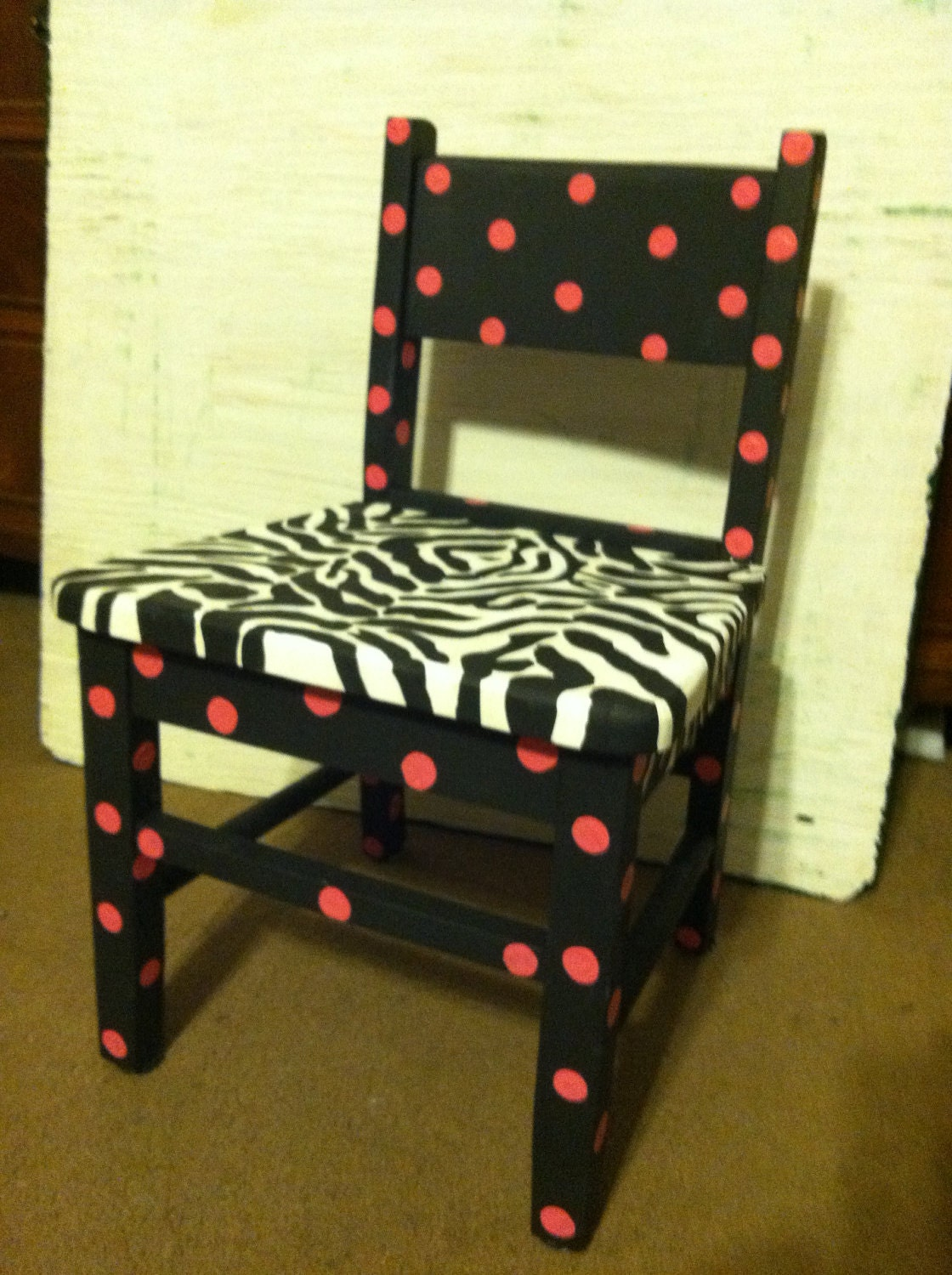 Very Impressive portraiture of Whimsical Funky hand painted wood children's chair zebra print with  with #B92412 color and 1120x1500 pixels