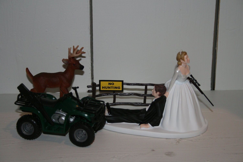 Pin Hunting Bride Groom Wedding Cake Topper Coon Dog Gun