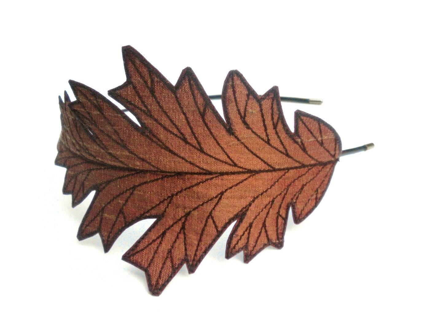 Oak Leaf Headband- Unique Embroidered Silk Fabric Leaf Headband- Cinnamon Spice with Auburn / Reddish Brown Embroidery - TheFaerieMarket