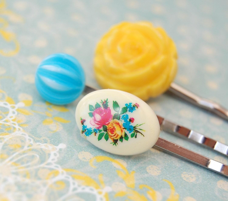 Bright Roses Hair Pin Set